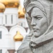 Stone sculpture and church in Yaroslavl, Russia. — Stock Photo