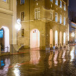 Stock Photo: Street view at night in Klaipeda, Lithuania.