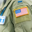 Focus on american flag on USAF uniform of person. — ストック写真