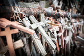 Great number of various crosses as memorial. — Stock Photo