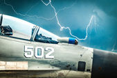 Russian fighter with gloomy sky background. — Foto Stock