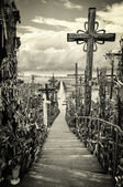Sky and hill of crosses near Siauliai, Lithuania. — Stock Photo