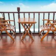 Deck chairs and table on ship — Stock Photo #45069069