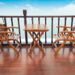 Deck chairs and table on ship — Stock Photo