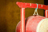 Red wooden drum in Buddhist temple — Stock Photo