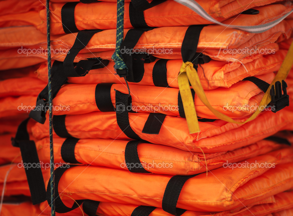 Pile Of Life Jackets Ready For Shipping Stock Photo