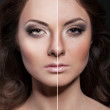 Face of beautiful woman before and after retouch — Stock Photo #22313767