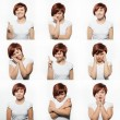 Collage of young woman face expressions composite isolated on white background — Stockfoto