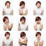 collage des composites d'expressions de visage jeune femme isolé sur fond blanc — Photo