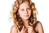 Little blond girl with beautiful curly hair — Stock Photo