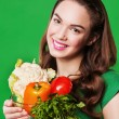 Beautiful woman with vegetables in glass bowl — Stock Photo #46957743