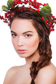 Woman with a wreath of berries — Stok fotoğraf