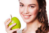Healthy woman with Green Apple. isolated on white — 图库照片