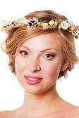 Model with wreath — Stock Photo