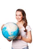Lady holding   world globe. — Stock Photo