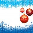 Three christmas balls on snow flakes background — Imagen vectorial