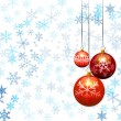 Three christmas balls on snow flakes background — Векторная иллюстрация