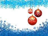 Drie kerstballen op sneeuw vlokken achtergrond — Stockvector