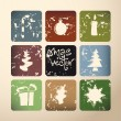 Vintage vector christmas poster made from icons — Stock Vector