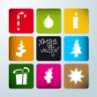 Vector christmas poster made from icons — Stock Vector