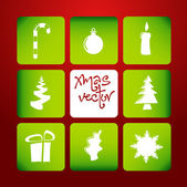 Vector christmas poster made from icons — Stock vektor