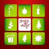 Vektor weihnachten poster gemacht von ikonen — Stockvektor