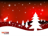 Christmas landscape vector illustration — Stock vektor