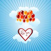 Un groupe de ballons soulever un grand coeur - thème de l'amour — Vecteur