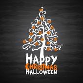 Happy Christmas Halloween tree with pumpkins — Stock Vector