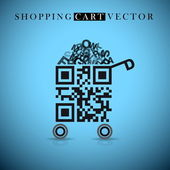 Shopping cart made from QR-code — Stock Vector