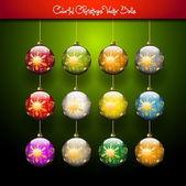 Vector golden Christmas balls — Stock Vector