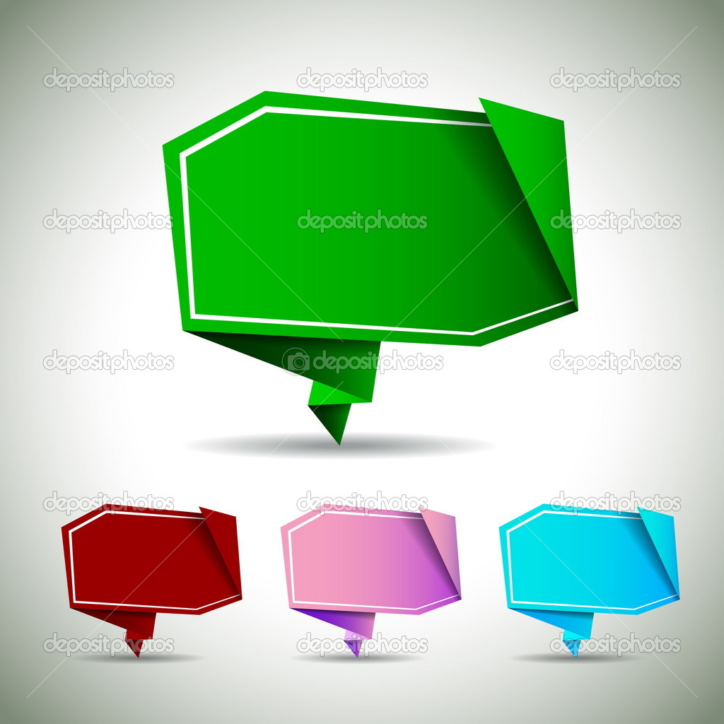 Abstract origami speech bubble - vector backgrounds set — Stock Vector #15644877
