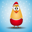 Cute happy little yellow chicken christmas greeting card — Stock Photo