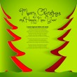 Simple vector green christmas tree cuted from paper - original new year card — Stock Photo