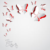 Greeting card with paper butterfly — Foto Stock