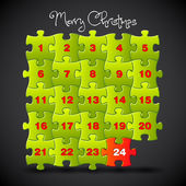 Advent calendar made from puzzle - template — Stock Photo