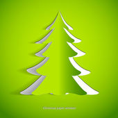 Simple green christmas tree cuted from paper - original new year card — Stock Photo
