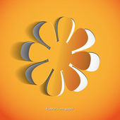 Paper flower on white background - vector — Stok fotoğraf