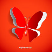 Greeting card with paper butterfly — Stock Photo