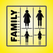 Royalty-Free Stock Vector Image: Silhouette family model kit with sign - parents