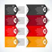 One two three - Set of three version - vector paper progress steps for tutorial — Stock Vector