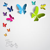 Greeting card with paper butterfly — Stock Vector