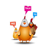 Happy Easter - Funny chicken family with speech bubbles - vector illustration — Stock Vector