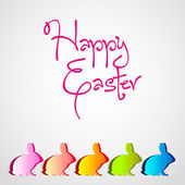 Happy Easter text with five rabbit Bunny — Stock Vector