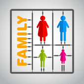 Silhouette family model kit with sign - parents — Stock Vector