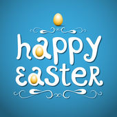 Happy easter lettering on blue background — Stock Vector
