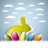Happy Easter with a bunny and eggs sticker — Stock Vector