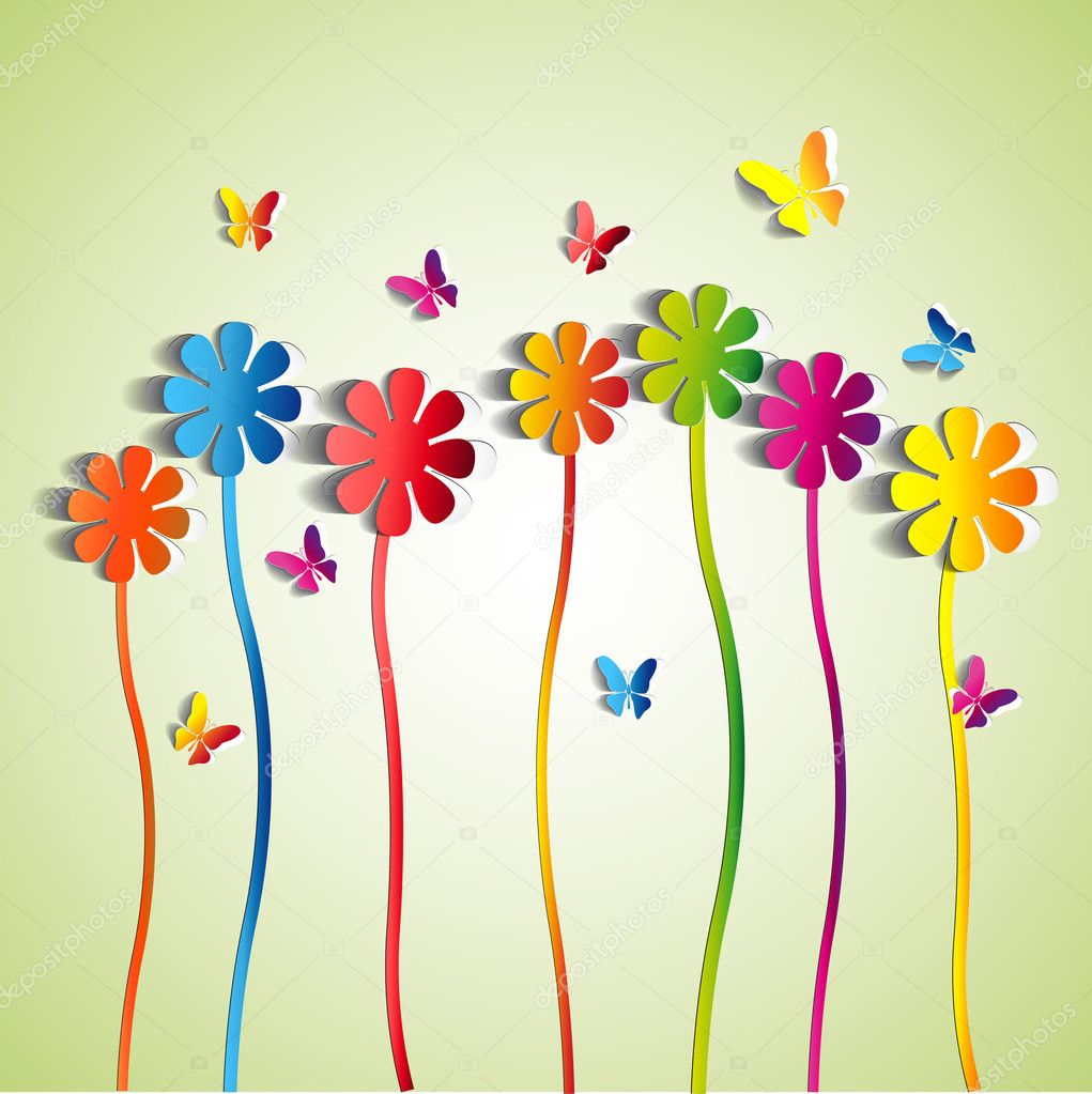 Abstract paper Flowerspaper butterflyspring theme card
