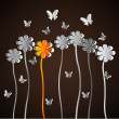 Spring theme with paper flowers and butterfly — Stock Photo