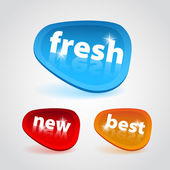 Sticker blue, red and orange - Fresh, New and Best word — Stock Photo